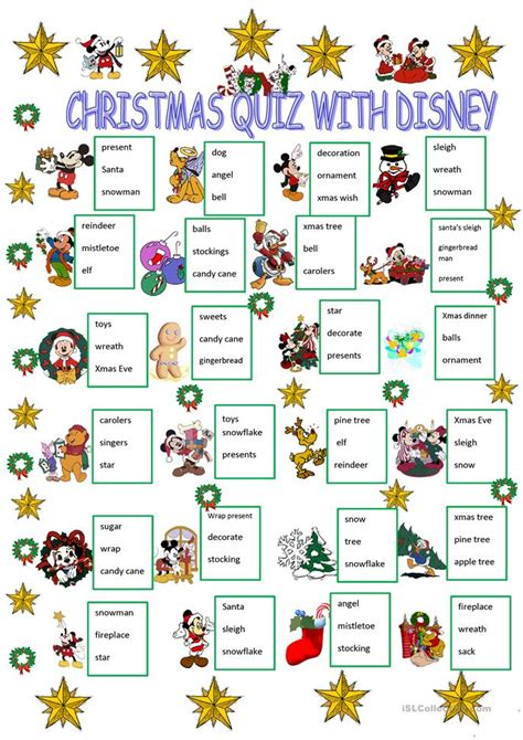 printable christmas personality quiz christmas quiz with disney characters worksheet free esl