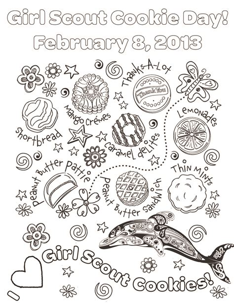 coloring page girl scout cookies national girl scout cookie day on feb 8th spring creek su