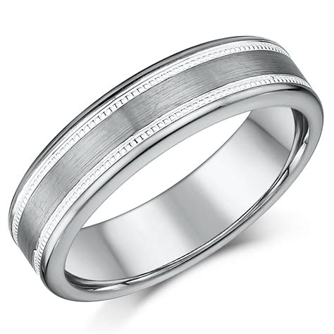 6mm tungsten s wedding ring band millgrain pattern