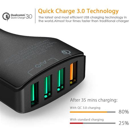 aukey charger mobil 4 port 55w 2 4a qc 3 0 aipower cc t9 black jakartanotebook