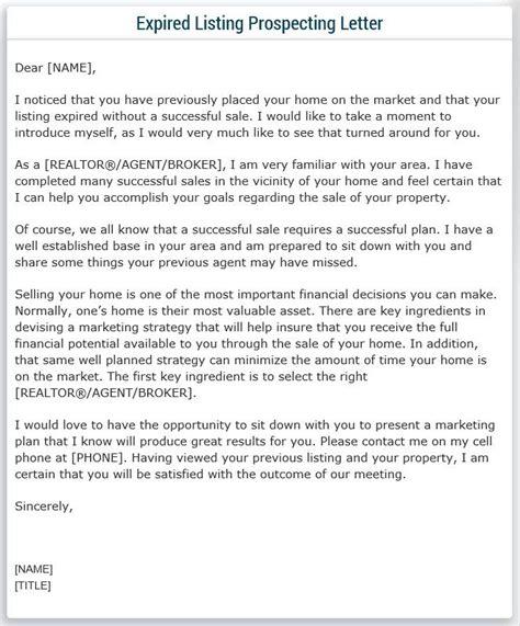 expired listing prospecting letter sample real estate