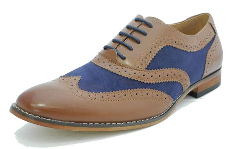 Handmade Mens Brogues - handmade brown and blue leather shoes wingtip