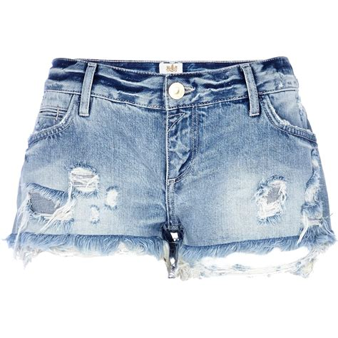 ripped denim river island light wash ripped denim shorts in blue denim