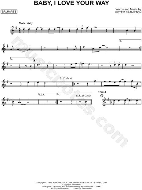 Baby Musician Trumpet frton quot baby i your way quot sheet trumpet