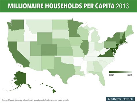 which state has the most owners per capita according to 2016 stats united states millionaire map business insider
