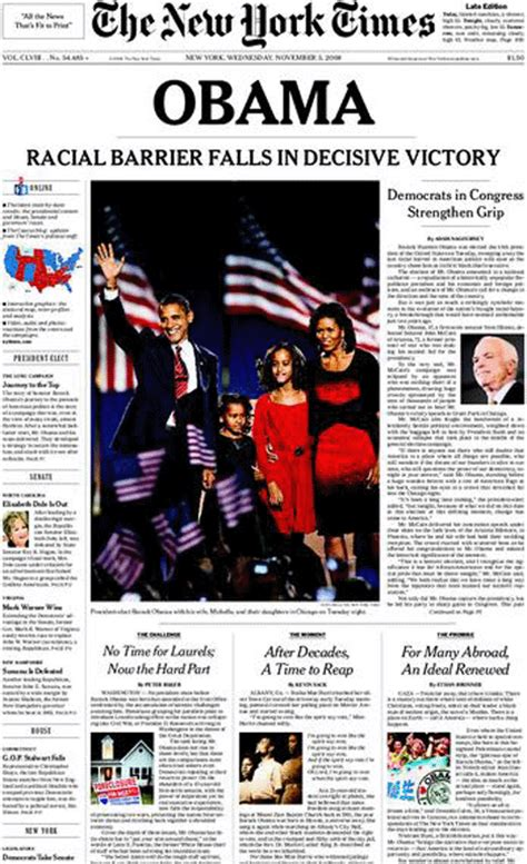 new york times tuesday science section obama elected president as racial barrier falls