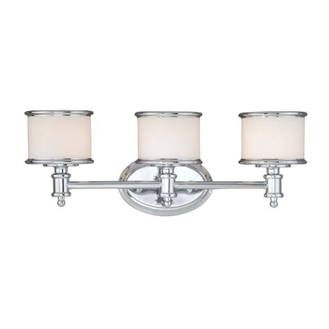 vanity bathroom light fixtures shop cascadia lighting carlisle 3 light 8 in chrome drum