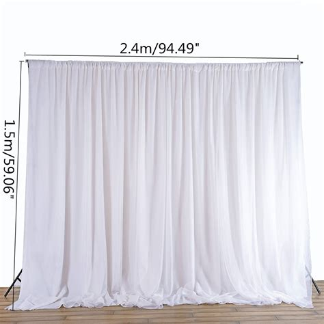 Wedding Backdrop Curtains White Sheer Silk Cloth Drapes Panels Hanging Curtains Photo Backdrop Wedding Events Diy