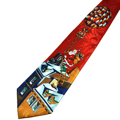santa claus on rooftop novelty christmas tie from ties