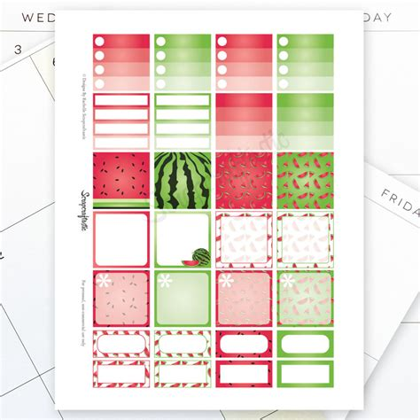 Monthly Planner Sticker watermelon monthly layout printable planner stickers for