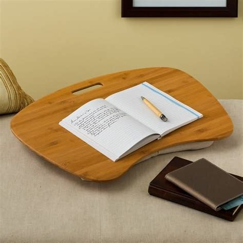 Bamboo Wood Contour Desk With Cotton Hopsack Pillow