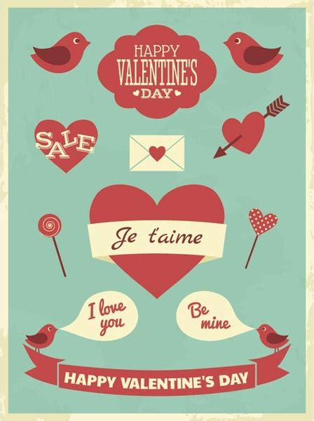 valentines day posters free vector retro style valentine8217s day poster free
