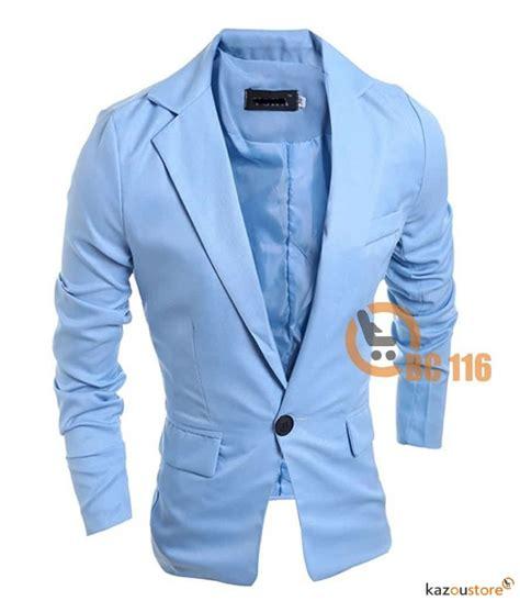 detil produk blazer pria slim fit new 116 biru kazoustore