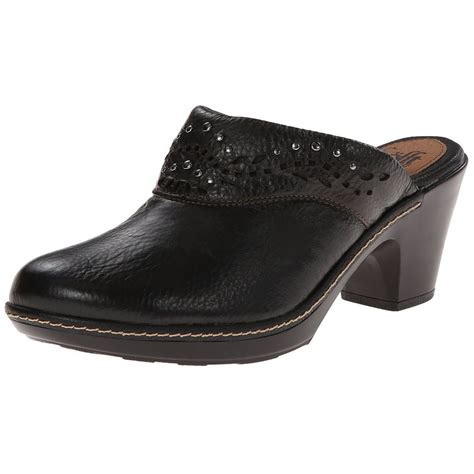 comfortable clogs with heels sofft laina womens black leather slip on comfort clogs