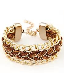 Gelang Korea Coin Shape Decorated Weave luxurious gold color personality design alloy korean