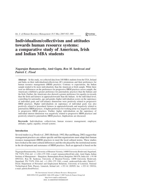 Cost Of Mba In Ireland For Indian Students by Individualism Collectivism And Attitudes Pdf