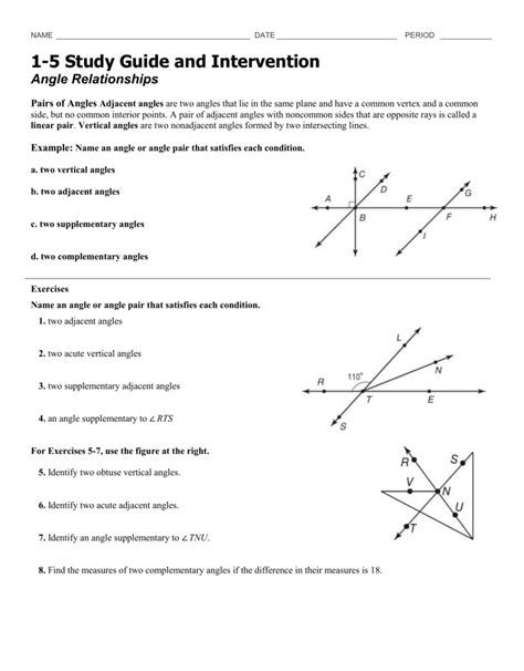study guide  intervention angle relationships