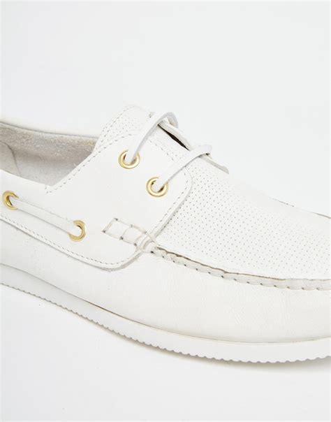 asos boat shoes in white leather in white for lyst