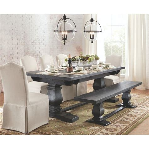 Aldridge Extendable Dining Table Home Decorators Collection Aldridge Washed Black Extendable Dining Table 1673000910 The Home Depot