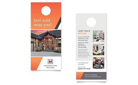 indesign rck card template mountain real estate rack card template design