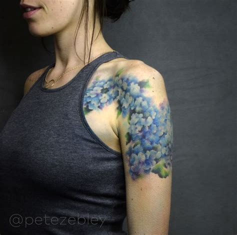 watercolor tattoo philly hydrangea watercolor completed by pete zebley in