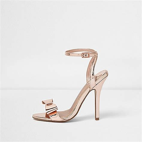 River Islands Bow Trim Sandal by Gold Metallic Bow Barely There Sandals Sandals Shoes