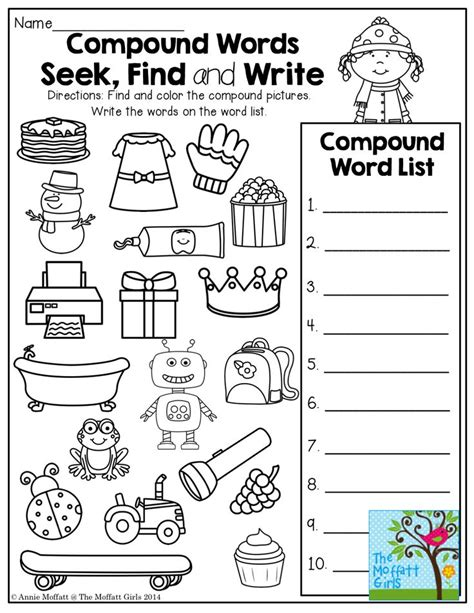 17 best images about 1st grade compound words on