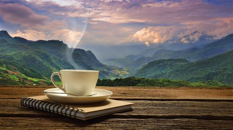 coffee wallpaper landscape image notepad coffee nature mountains landscape 2048x1152