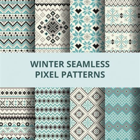 pixel pattern ai cute pixel patterns for winter vector free download