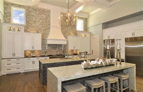 marble double island kitchen for the home pinterest double island gourmet kitchen quartz countertops twin