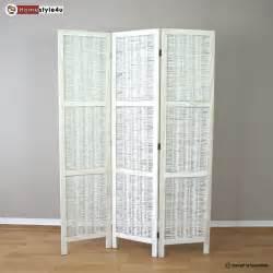 White Room Divider Screen 3 Part Room Divider Wood Wicker Paravent Screen In White Wihtewash Ebay