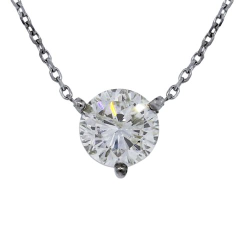 1 5ct 14k white gold solitaire floating pendant