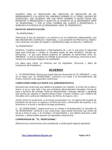 carta oferta venta propiedad acuerdo para la prestaci 243 n servicio de mediaci 243 n inmobiliaria