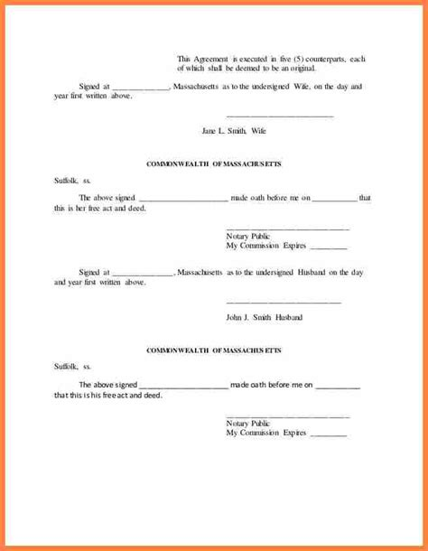 6 Notarized Separation Agreement Massachusetts Purchase Agreement Group Notarized Loan Agreement Template