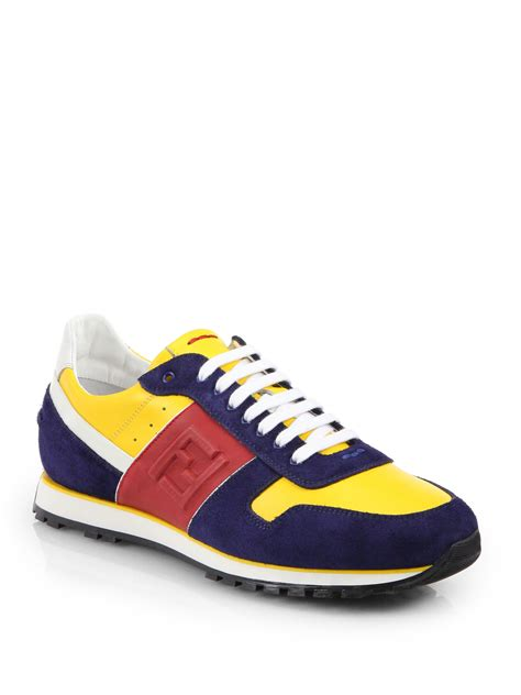 fendi sneakers mens lyst fendi multicolored laceup sneakers in yellow for