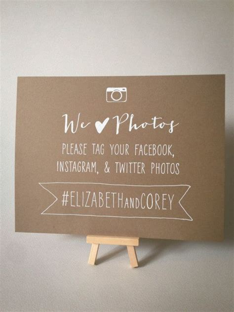 Set of 2 Hand Drawn Wedding Hashtag Photo Signs for