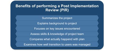 post implementation review checklist