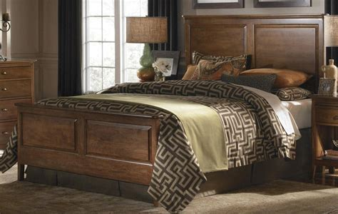 kincaid cherry park solid wood king panel bed  p