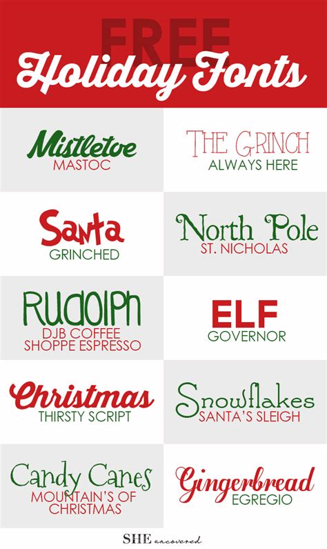 free holiday fonts she uncovered