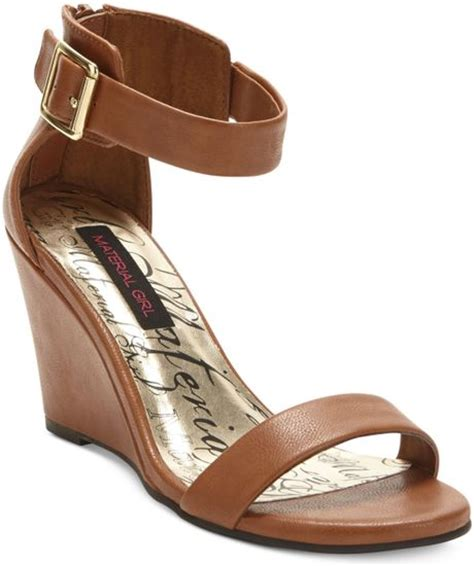 Dress Shoe Materials by Material Wedge Dress Sandals In Brown Cognac Lyst