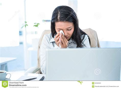 Sad Desk L by Sad Businesswoman Wiping Tears Stock Photo Image