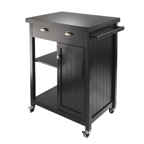Kitchen Cart by Winsome Wood 20727 Timber Kitchen Cart Black Lowe S Canada