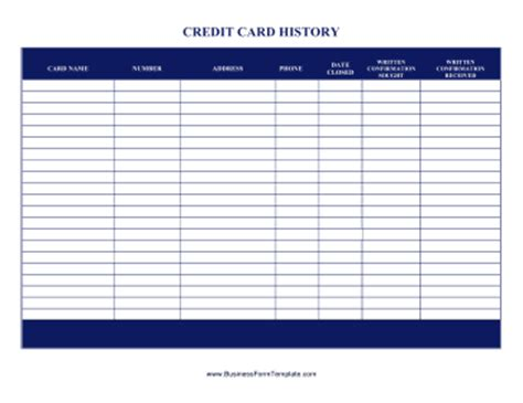 Credit List Template Credit Card History Template