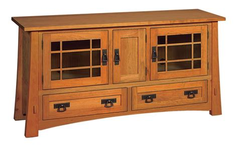 Amish Montana Mission TV Stand with Two Drawers and Three