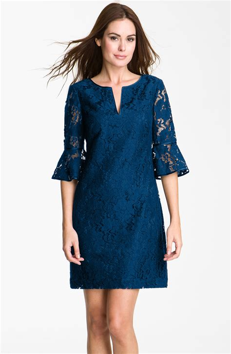 papell ruffle sleeve lace dress in blue
