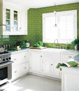 Green Kitchen Backsplash by Green Subway Tile Kitchen Design Ideas