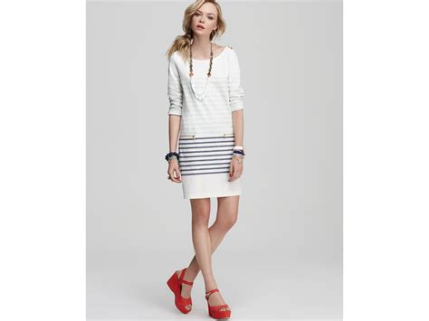 B18 Dress Zip White Stripe couture stripe shift dress with zipper pockets in white paltrow stripe combo lyst