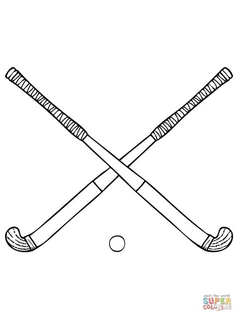 coloring pages of a hockey stick field hockey sticks coloring page free printable