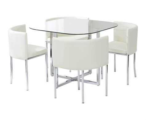 Stowaway Dining Table Algarve Glass Stowaway Dining Table With High Back Stools The Great Furniture Trading