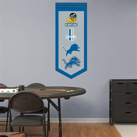 detroit lions logo evolution banner wall decal shop